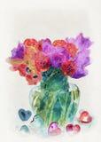 Tulipanes y corazones Pintura de la acuarela libre illustration