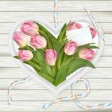 Tulipanes y marco rosados del corazón EPS 10 Fotografía de archivo libre de regalías