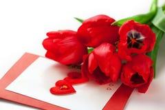 Tulipanes y tarjeta de felicitación rojos Imágenes de archivo libres de regalías