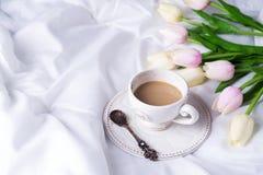 Tulipanes y taza de café rosados Imágenes de archivo libres de regalías