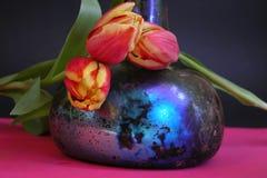 Tulipanes y una botella vieja Fotos de archivo