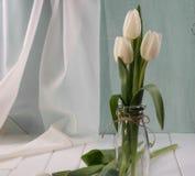 Tulipani bianchi in bottiglia di vetro Immagini Stock Libere da Diritti