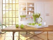 Tulipani bianchi freschi sul fondo della cucina Immagine Stock