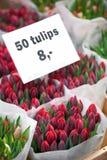 Tulipani con il prezzo Fotografia Stock