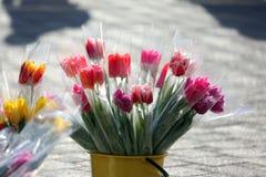 Tulipani dei fiori messi in vendita sulla via Immagine Stock Libera da Diritti