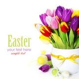 Tulipani della sorgente con le uova di Pasqua Fotografie Stock