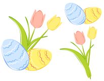 Tulipani della sorgente ed uova di Pasqua Clipart Fotografie Stock Libere da Diritti