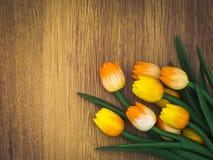 Tulipani di legno Immagine Stock