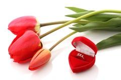 Tulipani e contenitore di monili rossi con l'anello Fotografia Stock