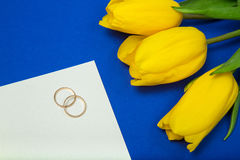Tulipani e fedi nuziali gialli Fotografie Stock
