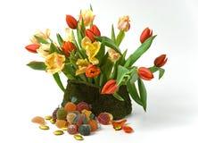 Tulipani e gelatine Fotografia Stock