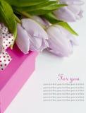 Tulipani e regalo di Bouqet sui precedenti bianchi Fotografia Stock Libera da Diritti