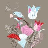 Tulipani ed uccello Fotografia Stock Libera da Diritti
