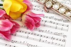 Tulipani, flauto e partitura Fotografia Stock Libera da Diritti