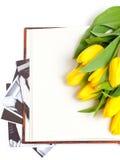 Tulipani gialli che si trovano sul libro con le fotografie Immagini Stock