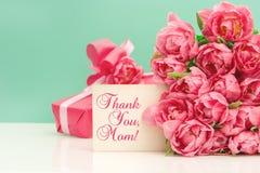 Tulipani rosa, cartolina d'auguri del ANG del regalo Concetto di giorno di madri Fotografia Stock
