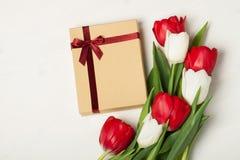Tulipani rossi e bianchi Fotografia Stock