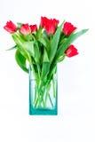 Tulipani rossi i un vaso di vetro bluastro Immagine Stock