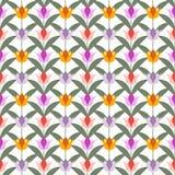 Tulipani su terra posteriore senza cuciture bianca Fotografia Stock