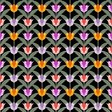 Tulipani su terra posteriore senza cuciture nera Fotografia Stock Libera da Diritti
