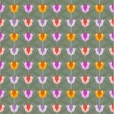 Tulipani su terra posteriore senza cuciture verde Immagini Stock Libere da Diritti