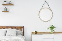 Tulipani su un'apprettatrice scandinava di stile, scaffali di legno con il piano immagini stock