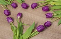 Tulipani su un fondo di legno Fotografia Stock Libera da Diritti