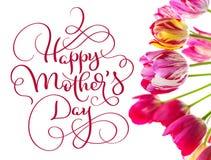 Tulipani un giorno di madri felice bianco del testo e del fondo Tiraggio della mano dell'iscrizione di calligrafia fotografia stock