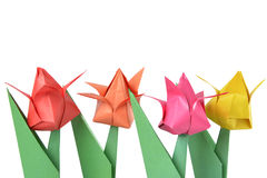 Tulipano di origami isolato sopra bianco Fotografia Stock Libera da Diritti