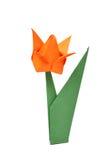 Tulipano di Origami sopra bianco Fotografia Stock