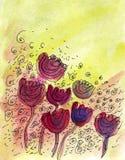 Tulipano verniciato in acquerello Immagini Stock