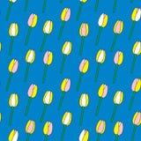 Tulipany na błękitnego tła wektoru bezszwowym wzorze Zdjęcia Royalty Free