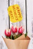 Tulipany na drewnianym tle Obraz Royalty Free