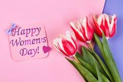 Tulipany, serce i kartka z pozdrowieniami, Fotografia Royalty Free
