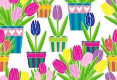 Tulipany w garnkach na białego tła wektoru bezszwowym wzorze Zdjęcia Stock