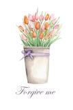 Tulipany w wiadrze Fotografia Stock