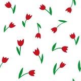Tulipany wektor bezszwowy wzoru R?ki Rysunkowa tekstura ilustracja wektor