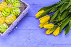 Tulipas amarelas de easter Imagens de Stock