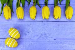 Tulipas amarelas de easter Fotos de Stock Royalty Free