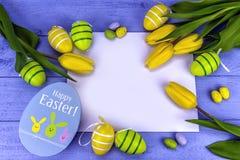 Tulipas amarelas de easter Imagem de Stock Royalty Free