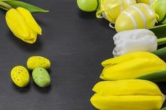 Tulipas amarelas de easter Imagem de Stock
