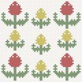 Tulipas amarelas e vermelhas, imitação do ponto de cruz Imagens de Stock Royalty Free