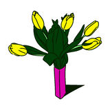 Tulipas amarelas em um vaso 0 Foto de Stock Royalty Free