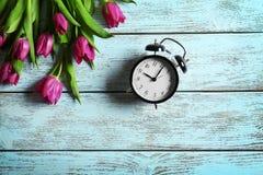 Tulipas bonitas roxas com despertador Fotografia de Stock