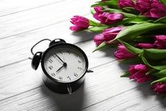 Tulipas bonitas roxas com despertador Imagem de Stock