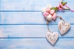 Tulipas brancas e cor-de-rosa da mola e dois corações decorativos no azul Foto de Stock