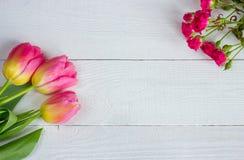 Tulipas coloridas com as rosas diminutas na tabela de madeira Imagem de Stock