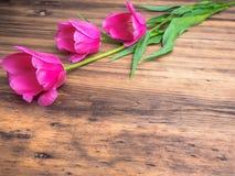 Tulipas cor-de-rosa, arranjo floral no fundo de madeira das placas idosas e um espaço para mensagens Fundo para o ` s da mãe Fotos de Stock Royalty Free
