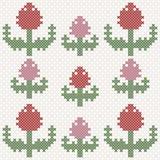 Tulipas cor-de-rosa e vermelhas, imitação do ponto de cruz Fotos de Stock