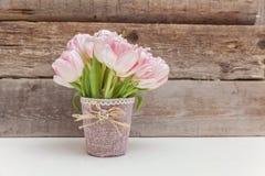 Tulipas cor-de-rosa no fundo de madeira foto de stock royalty free